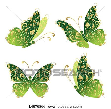 clip art gr n kunst schmetterling fliegen blumen goldenes verziehrung k4676866 suche. Black Bedroom Furniture Sets. Home Design Ideas