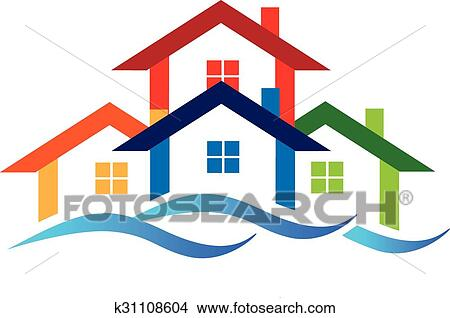 clipart of logo real estate houses k31108604 search clip art rh fotosearch com housing clip art black and white housing clipart free