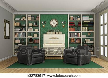 Archivio Illustrazioni - lusso, soggiorno, libreria, e, pianoforte ...