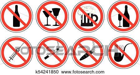 Clipart Satz Von Verbotsschilder Von Drogen Trinken Alkohol