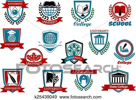 Clip Art Of School University Or College Emblems And Symbols