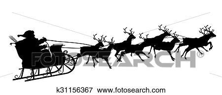 Clip Art Weihnachtsmann Mit Rentier Schlitten Symbol