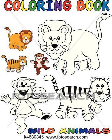 Clipart - animales salvajes, -, libro colorear k4680345 - Buscar ...