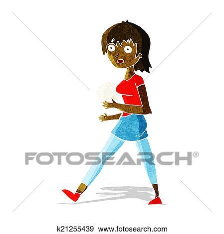 Karikatur Fussball Madchen Clip Art