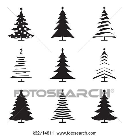 Set Of Black Christmas Tree Vector Illustration And Icons Clipart