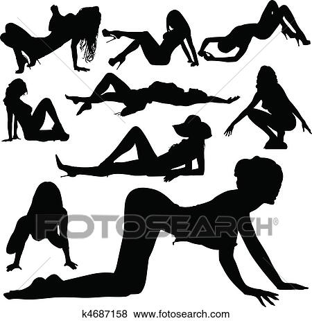 clip art of sexy girl beauty vector silhouettes k4687158 search rh fotosearch com Asian Sexy Models Clip Art Pretty Girl Clip Art