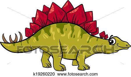 Stegosaurus dinosauro cartone animato illustrazione clipart