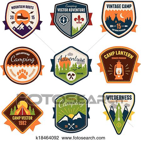 Vintage summer camp and outdoor badges Clipart | k18464092 ...