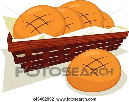 Bread ロールパン バスケット クリップアート切り張りイラスト