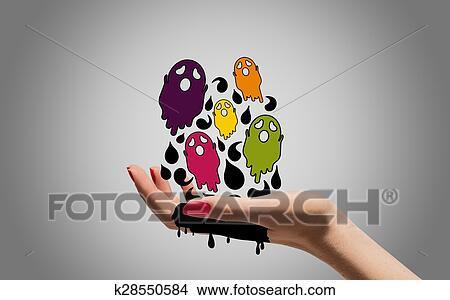 Cartone animato fantasmi con donna mano archivio illustrazioni