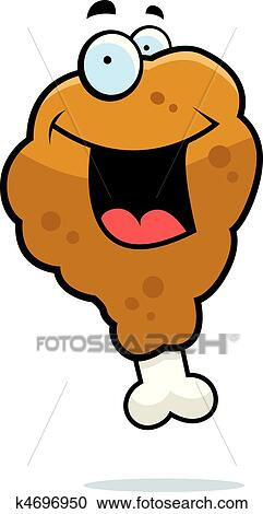 A Cartoon Fried Chicken Drumstick Smiling And Happy