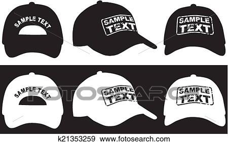 Clip Art - gorra de béisbol, frente, espalda, y, lado, vista ...