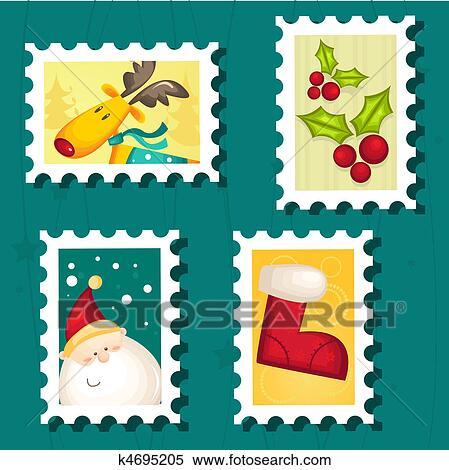 Christmas Stamps.Set Of Christmas Postage Stamps Stock Illustration