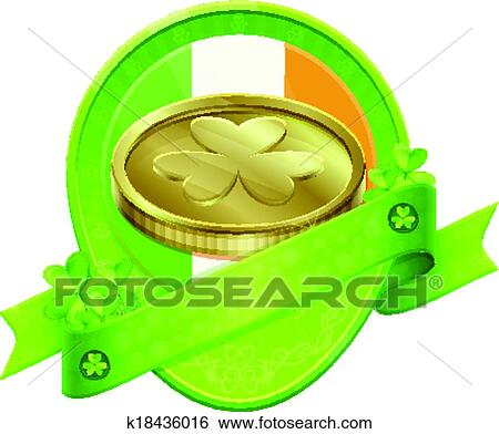 Clip Art Of Sticker Gold Coin St Patricks Day K18436016