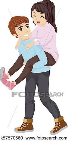 Teen Couple Piggyback Ride Illustration Clipart