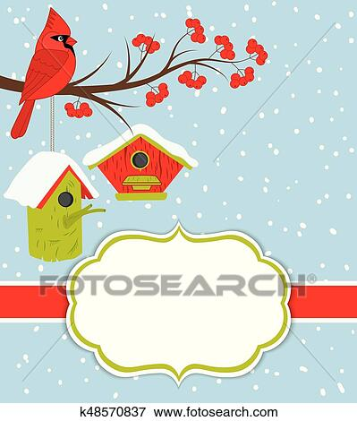 clip art vector christmas and new year card template with cardinal birdhouses and red