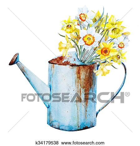 Stock Illustration Of Watercolor Spring Flowers K34179538 Search