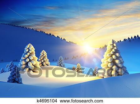 Tekeningen Winterlandschap Met Fir Bomen K4695104 Zoek Clipart