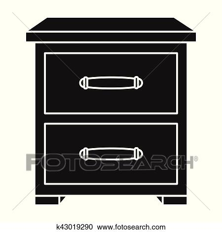 Bedside table clipart  Clipart of Bedside table icon in black style isolated on white ...