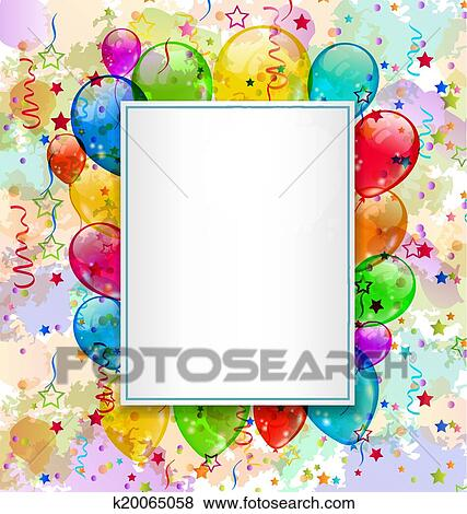Clip Art Of Birthday Card With Balloons And Confetti K20065058