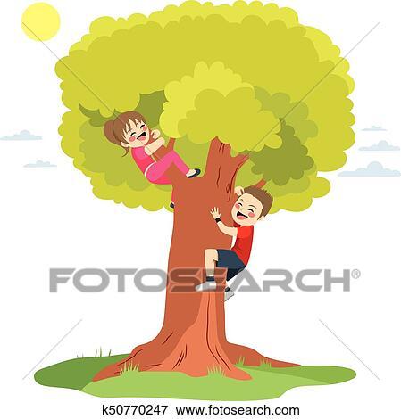Children Climbing Tree Clip Art K50770247 Fotosearch