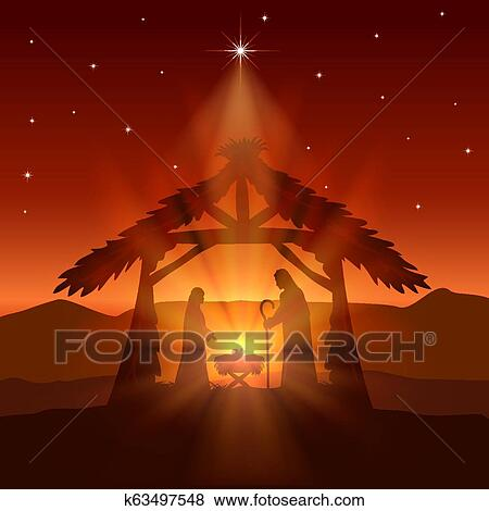 Christliche Bilder Weihnachten.Christliche Weihnachten Mit Geburt Von Jesus Und Stern Auf Nacht Hintergrund Clip Art