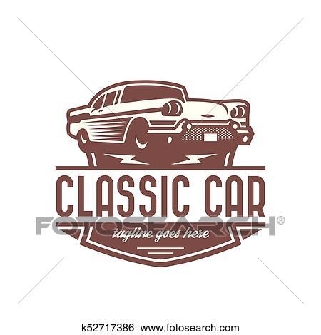Clip Art Of Classic Car Logo Template Vintage Car Logo Retro Car