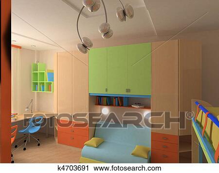 Coin, de, enfant, chambre à coucher, à, coloré, meubles Clipart ...