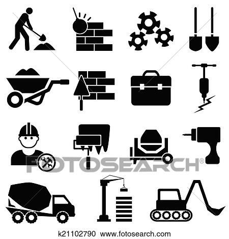 Construction And Machinery Icons Clipart K21102790 Fotosearch