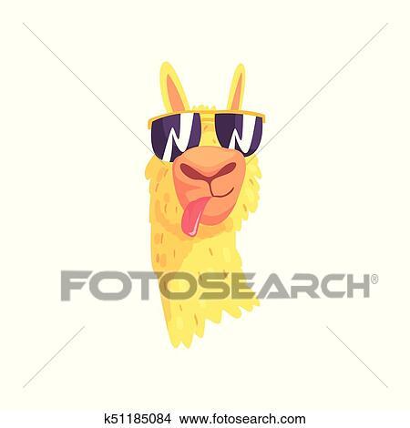 Funny Llama Character In Sunglasses Cute Alpaca Animal