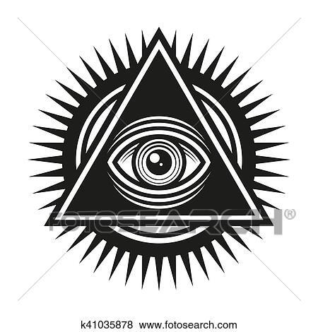 Clip Art Of Masonic Symbol All Seeing Eye Inside Pyramid Triangle