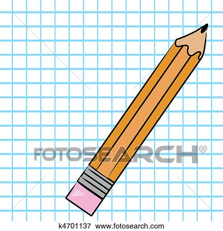 stock illustration of pencil with graph paper k4701137 search eps rh fotosearch com Grid Paper Template graph paper clipart free