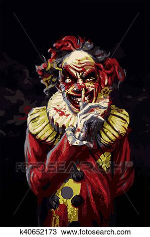 drawing of scary clown k40652173 search clipart illustration