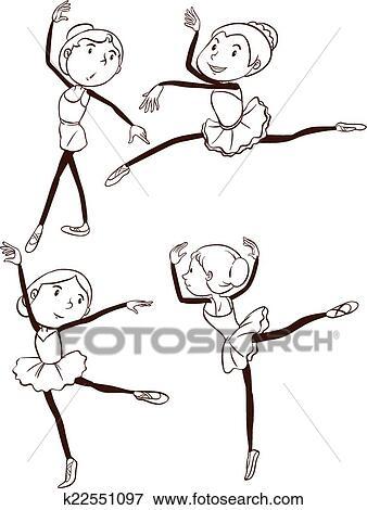 Um Simples Desenho De A Bailarinos Bale Clipart K22551097