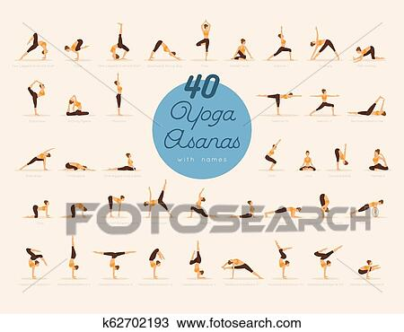 40 yoga asanas with names clipart  k62702193  fotosearch
