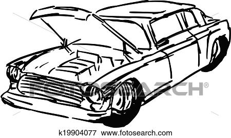 Clip Art Of Car With Open Hood K19904077