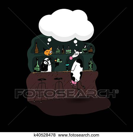 cow and cat dialog in bar clip art  k40528478  fotosearch