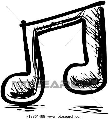 Double note musique clipart k18851468 - Note musique dessin ...