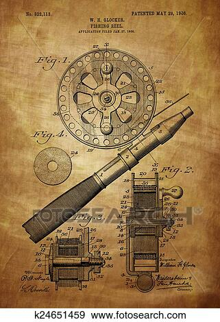 Stock Illustration Of Fishing Reel Patent 1906 K24651459 Search