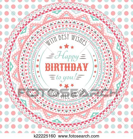 Clipart Of Funny Cute Happy Birthday Card Typography Letters Font