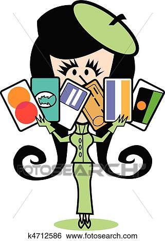 clip art of girl with credit cards clip art k4712586 search rh fotosearch com fotosearch clipart gratuit fotosearch clip art free