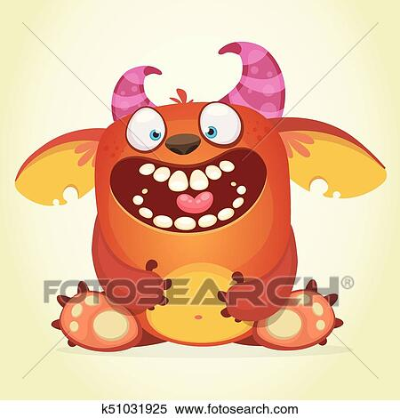 Happy Cartoon Fluffy Monster Vector Character Clipart K51031925 Fotosearch
