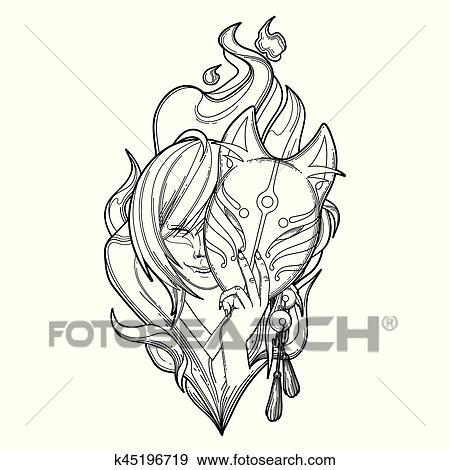 Clip Art - japonés, demonio, zorro k45196719 - Buscar Clip Art ...