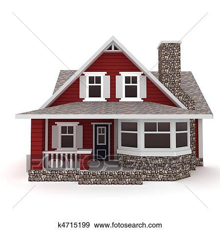 Banque d 39 illustrations 3d maison isol blanc k4715199 for Voir ma maison en 3d