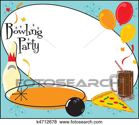 Clip Art Of Kids Bowling Party Invitation K4712678 Search Clipart