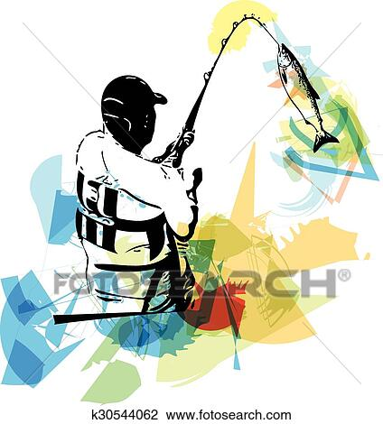 clipart of man fishing from the boat k30544062 search clip art rh fotosearch com free man fishing clipart old man fishing clipart