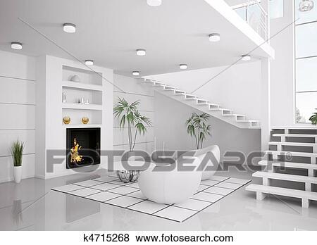 Moderno, bianco, interno, di, soggiorno, 3d, render Archivio Fotografico
