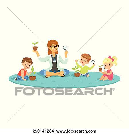 Clipart - profesor, y, niños, sentado sobre el piso, aprendizaje ...