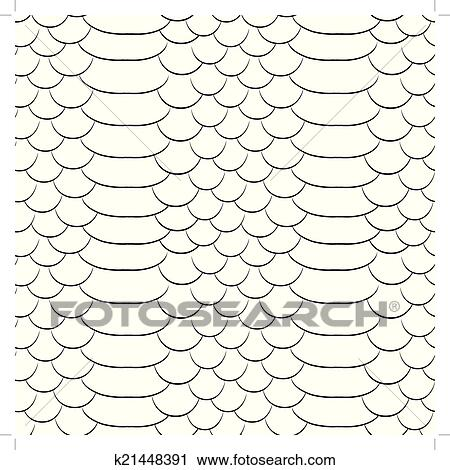 Clipart Of Snake Skin Texture Seamless Pattern Black And White