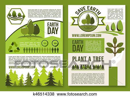 Vetorial Cartazes Ou Folheto Para Dia Terra Ecologia
